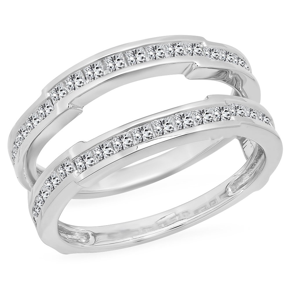 dazzlingjewelrycollection 1.15 Carat (Ctw) 14K White Gold Over Sterling Silver Princess Cut White Diamond Ladies Anniversary Wedding Band Enhancer Guard Double Ring 1 1/4 CT by dazzlingjewelrycollection