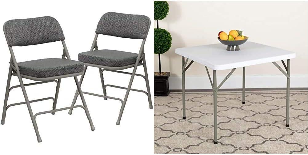 Flash Furniture 2 Pk. Hercules Series Premium Curved Triple Braced & Double Hinged Gray Fabric Metal Folding Chair & 2.85-Foot Square Granite White Plastic Folding Table