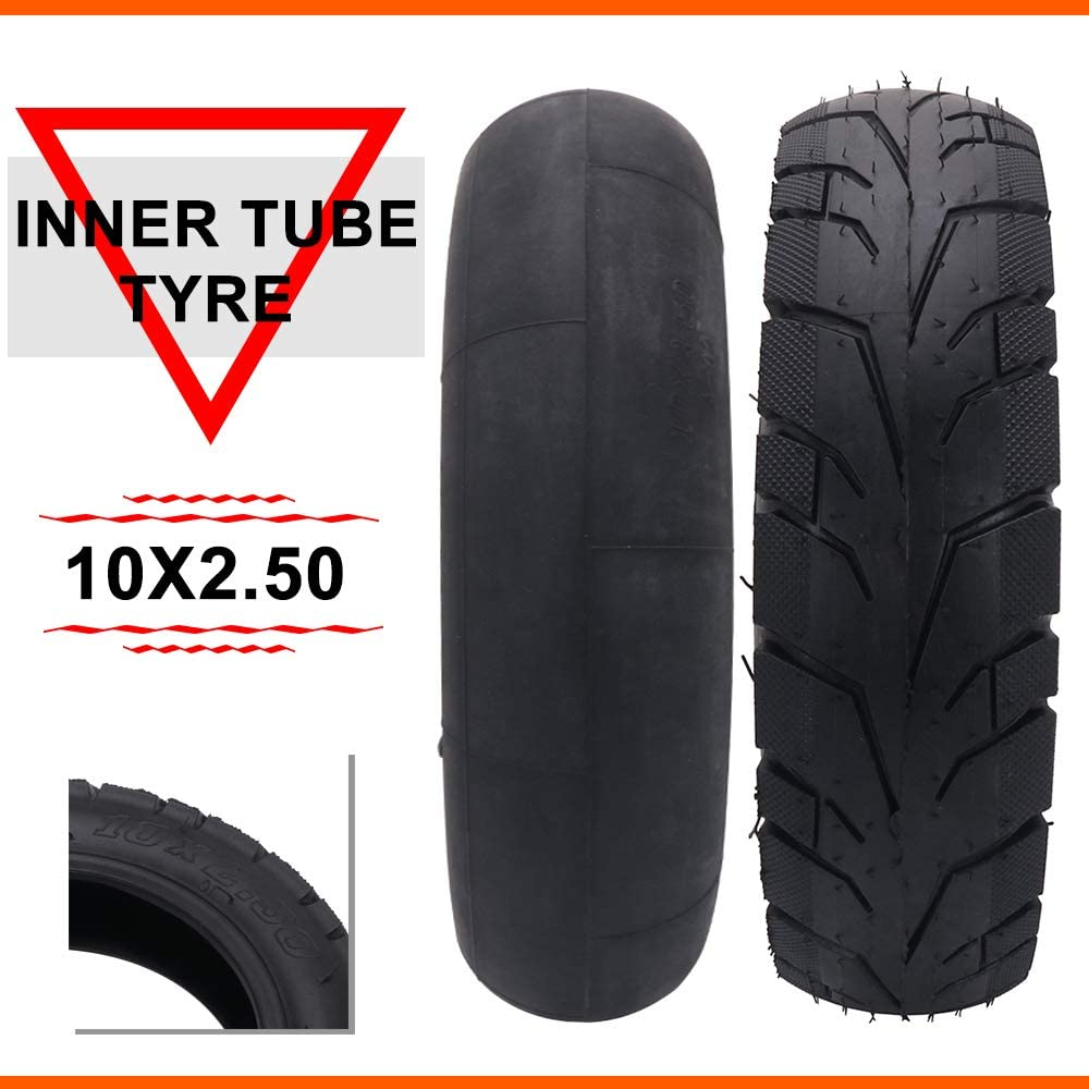 wingsmoto 10x2.50 10 Inner Tube for 10 Inch Smart Self Balancing Electric Scooter fit 36v 48v 400w 500w 800w Hub Motor TR87 Angled Stem Pack of 2