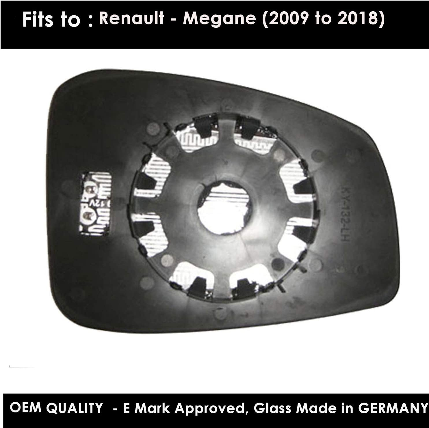 Blue Tinted Door Mirror Glass Including Base Plate LH Passenger Side REMegane 2009 to 2017 Heated