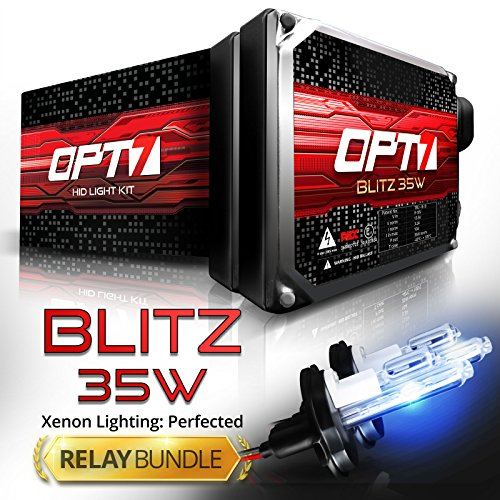Blue Xenon Hid Headlights Lights - OPT7 Blitz 35w 9007 Hi-Lo HID Kit - Relay Bundle - All Bulb Sizes and Colors - 2 Yr Warranty [6000K Lightning Blue Xenon Light]