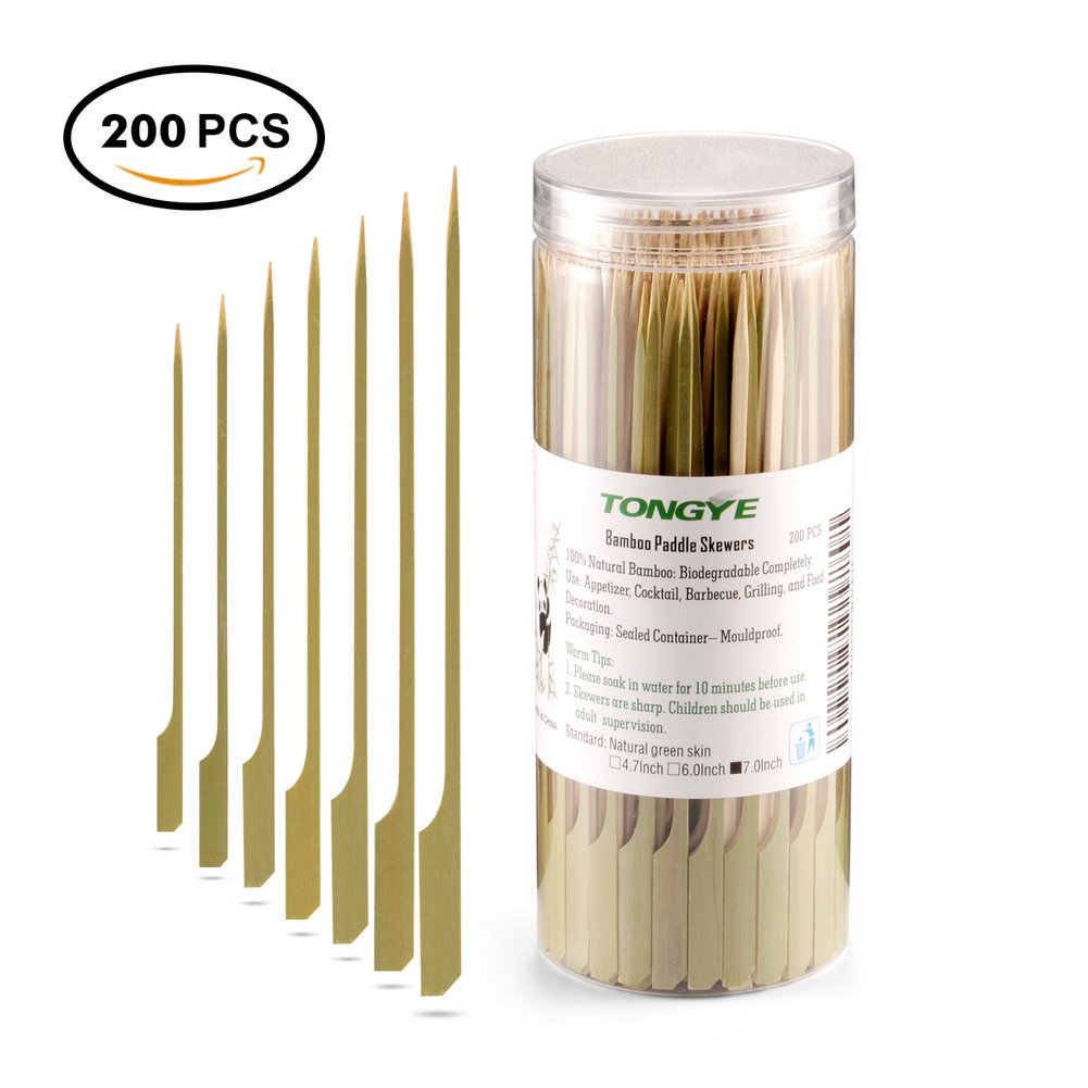 Bamboo Paddle Skewers 7 Inch with Clear Cylinder, Food Grade Cocktail Picks, Barbecue Stick. Decoration for Party Food, Appetizer, Dessert, Fruit, Sausage, Burger, Prawn, Kebab. (200PCS Green Skin)