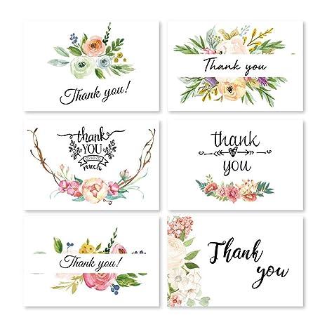 Toyvian 48 piezas tarjetas de agradecimiento flor floral ...