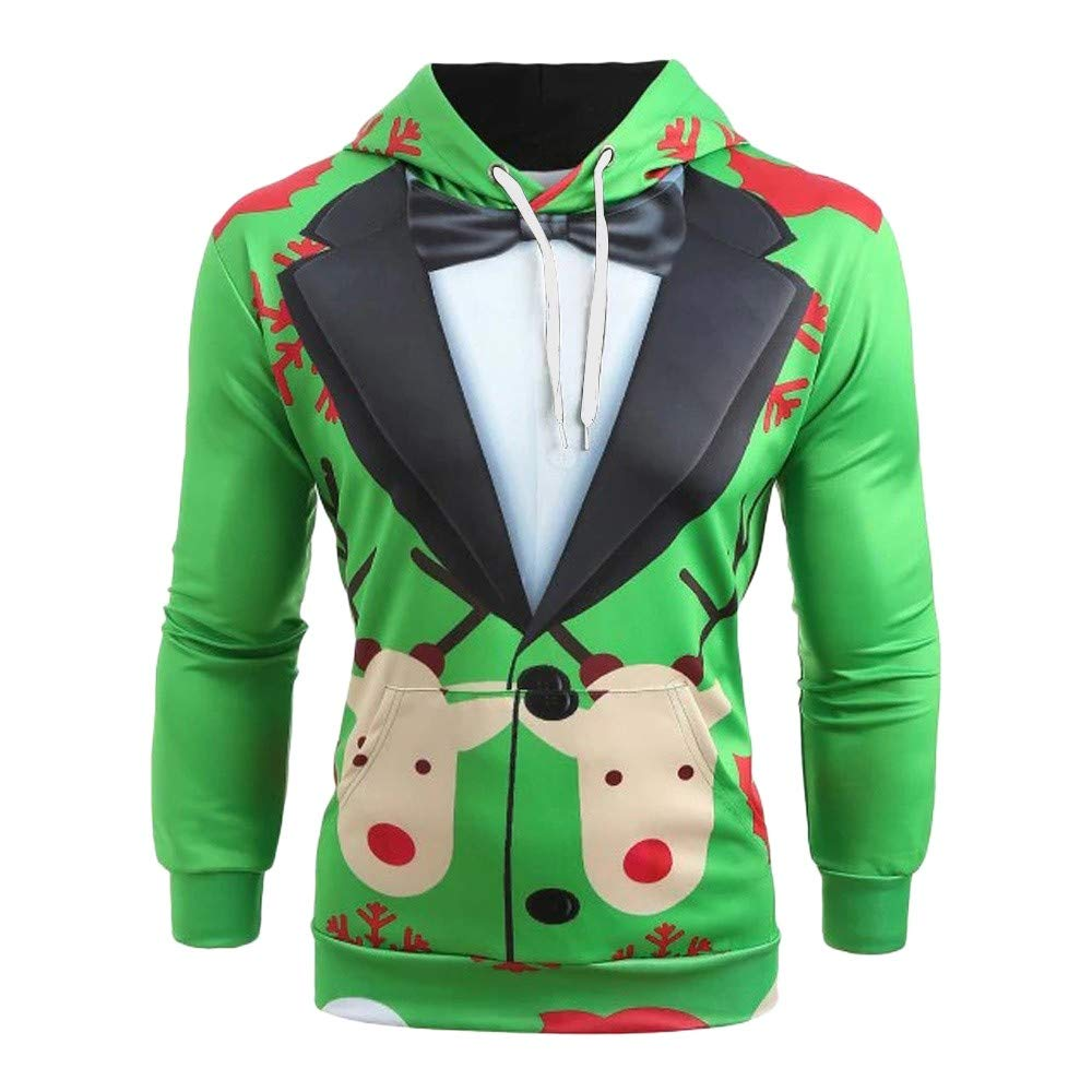 Strung Women Men Christmas Suit Pattern 3D Print Long Sleeve Caps Sweatshirt Pullover