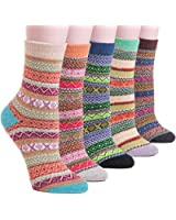 YOMORES Women Socks 5 Pack Vintage Style Cotton Knitting Wool Warm Winter Fall Crew Socks