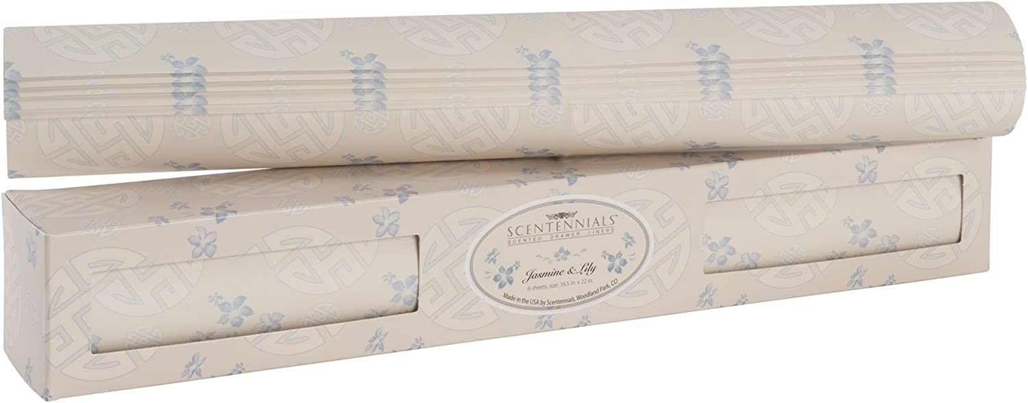 Scentennials Jasmine & Lily (12 Sheets) Scented Drawer Liners