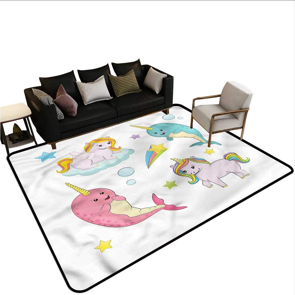 "B07SHFVH88 Narwhal,Floor mats for Kids 60""x 72"" Colorful Rainbow Animal Rubber mat 61AymQOCs9L._SL1000_"