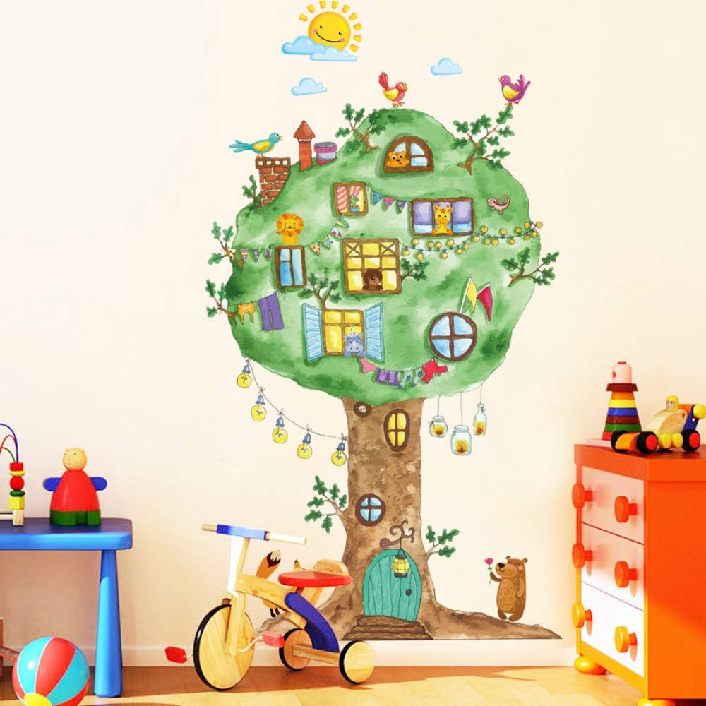Amazon.com: Bdhnmx Cartoon Tree House Vinyl Wall Stickers for Kids Room Kindergarten Baby Room Wall Decoration Home Decor Art Decals Mural: Baby