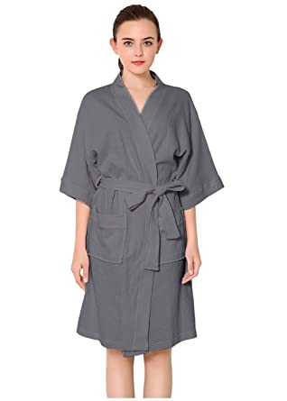 733c309c01 Womens Cotton Robe Waffle Kimono Robes Hotel Spa Bathrobe Loungewear  Sleepwear Short Grey