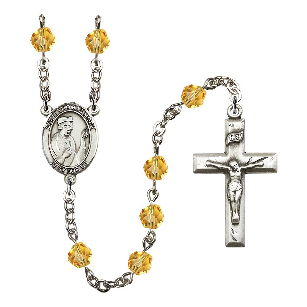 Bonyak Jewelry St. Thomas More Silver-Plated Rosary 6mm November Yellow Fire Polished Beads Crucifix Size 1 3/8 x 3/4 Medal Charm