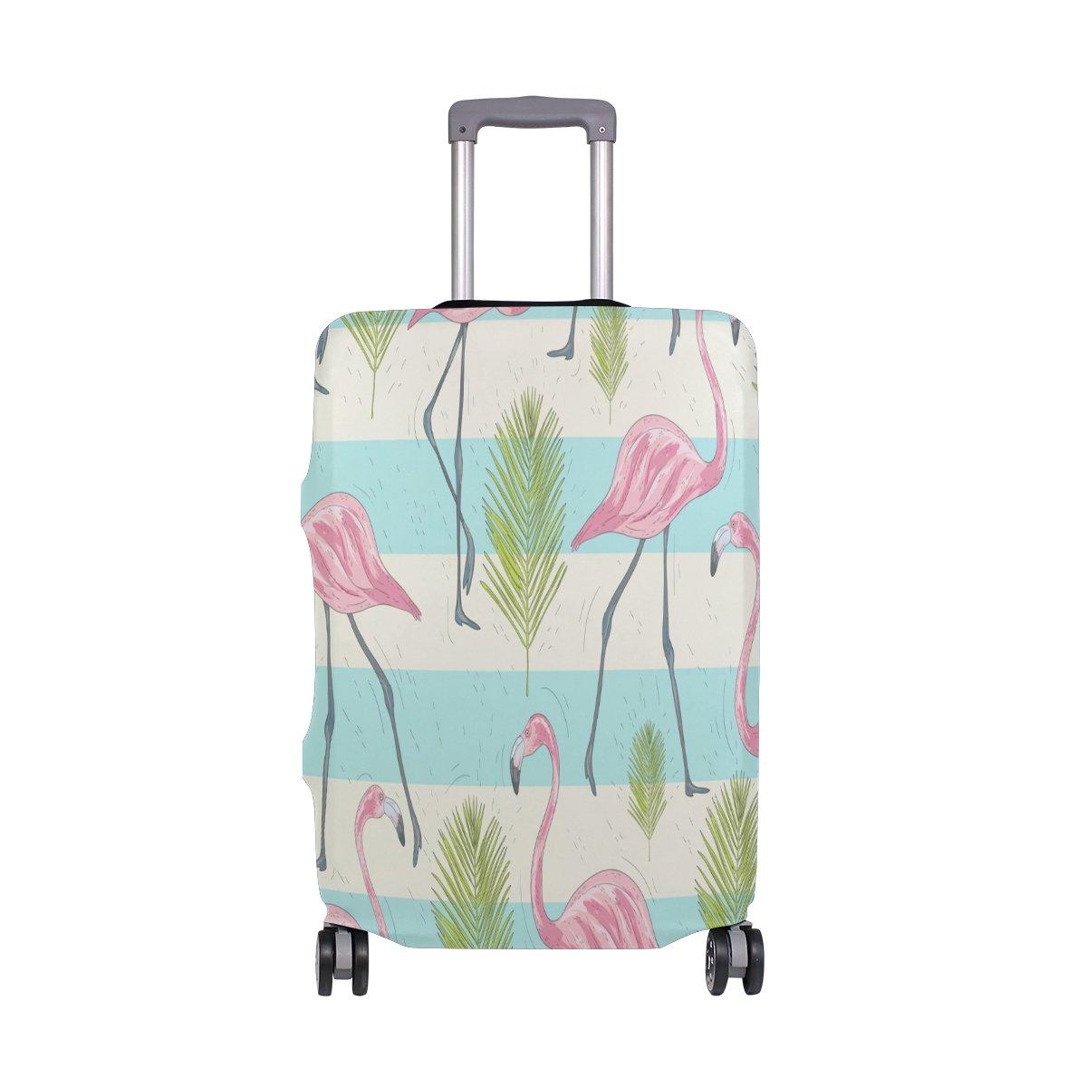 suabo旅行荷物カバーFits 18 – 20インチスーツケースwithフラミンゴとヤシプリントスーツケースカバー L 26-28 in  B07FS9KGDM