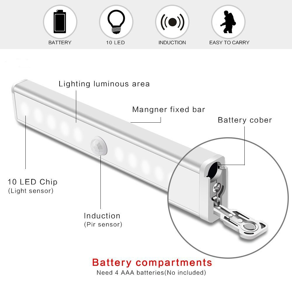 Motion Sensor Closet Lights RUOYIER Portable Wireless 10-LED Stick-on anywhere Cabinet motion sensing light with Magnetic Strip for Wardrobe Stairs Step Night Light Bar(Battery Operated 3-pack) by Ruoyier (Image #7)