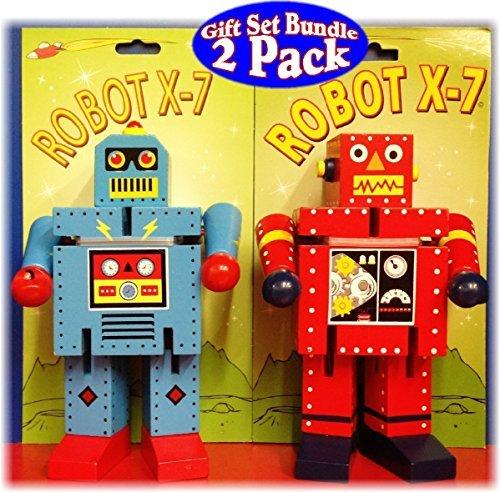 Robot X-7 Bendable Wooden Robots Red & Blue Gift Set Bundle - 2 Pack