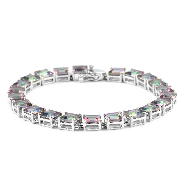 925 Sterling Silver Square Mystic Green Topaz Tennis Bracelet for Women 7.25'' Cttw 21.1