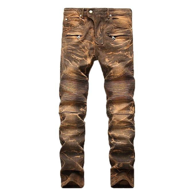 491ef53b1 beautyjourney Vaqueros de los Hombres de la Vendimia Pantalones Vaqueros  plegados y doblado de Mezclilla Pantalones Slim fit de Pierna Recta  Pantalones ...