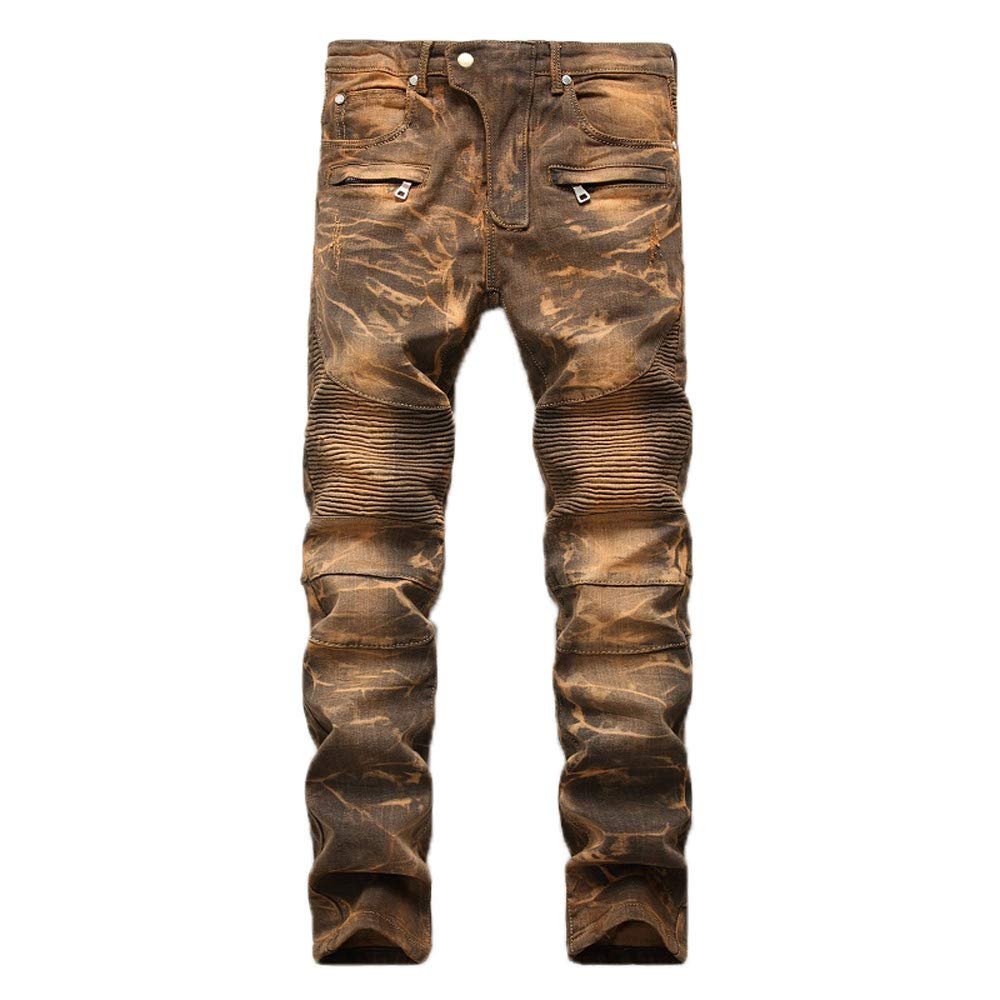 Ximandi Pants for Men Elastic Waist Pants for Men 42x32 Yellow