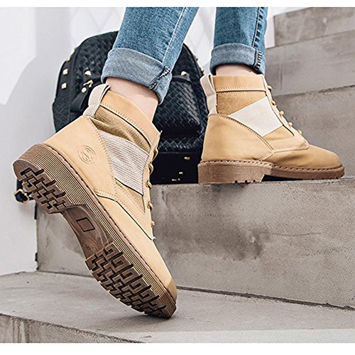 Women Martin Short Ankle Boots Leather Flat Heel Warm Shoelace Casual Shoes BROWN-38 HgdRvRd0