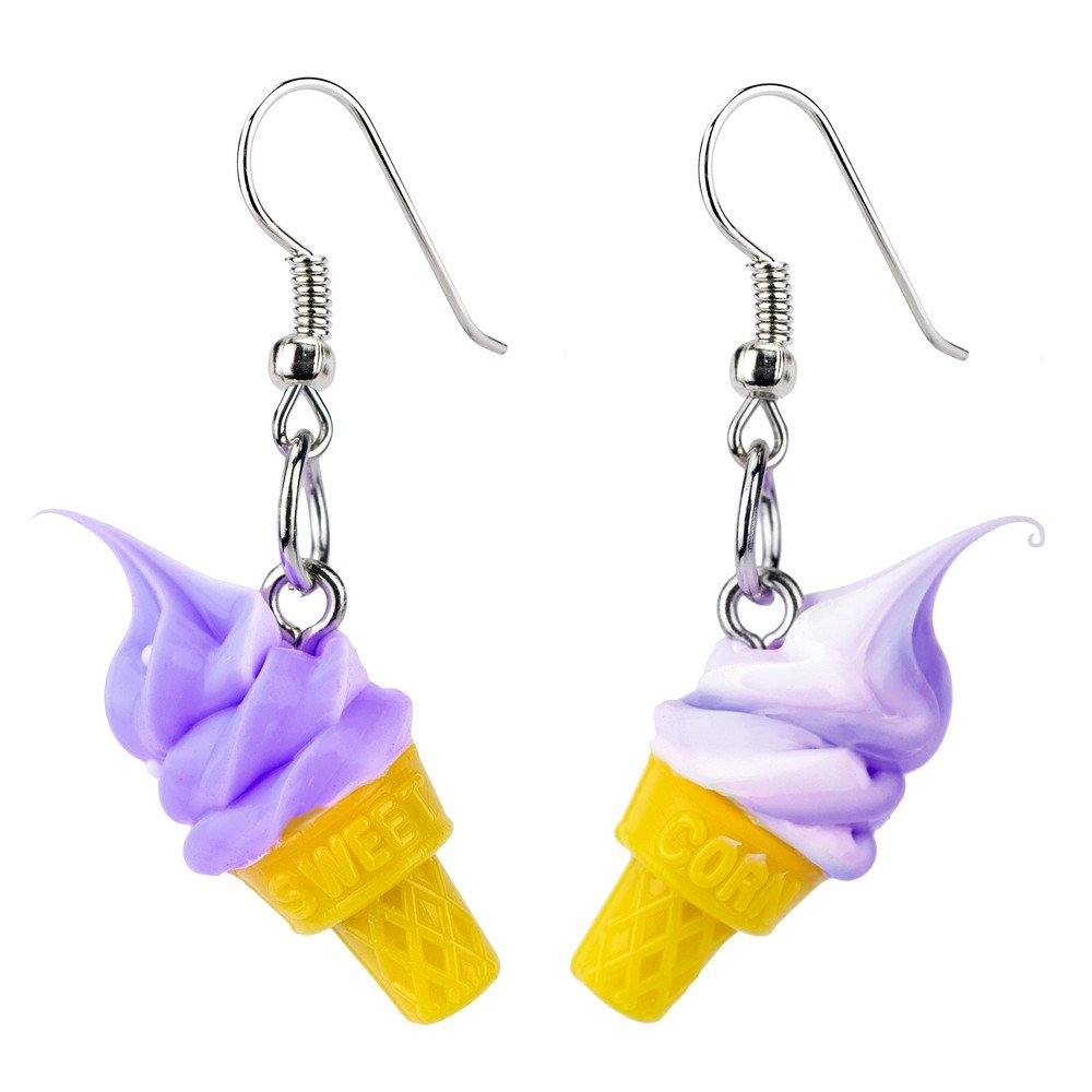 Drop Earring Ice Cream Cone Made With Resin by JOE COOL