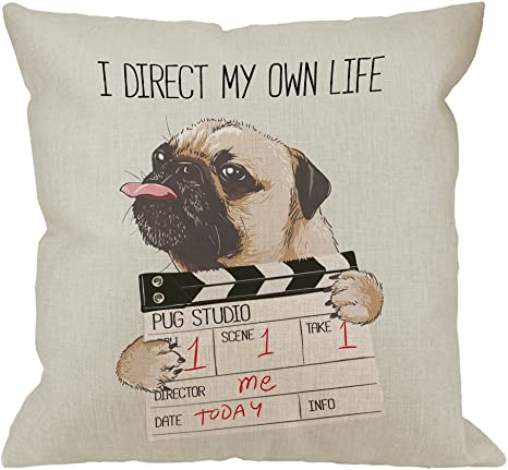 Amazon Com Hgod Designs Pug Pillow Covers Decorative Throw Pillow Pug Dog With Director Slate I Direct My Own Life Pillow Cases Cotton Linen Outdoor Indoor Square Cushion Covers For Home Sofa Couch 18x18