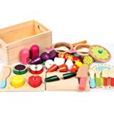 29pc Kitchen Wooden Kids Play Set Vegetables Fruit Cutting Toy Cooking Utensils