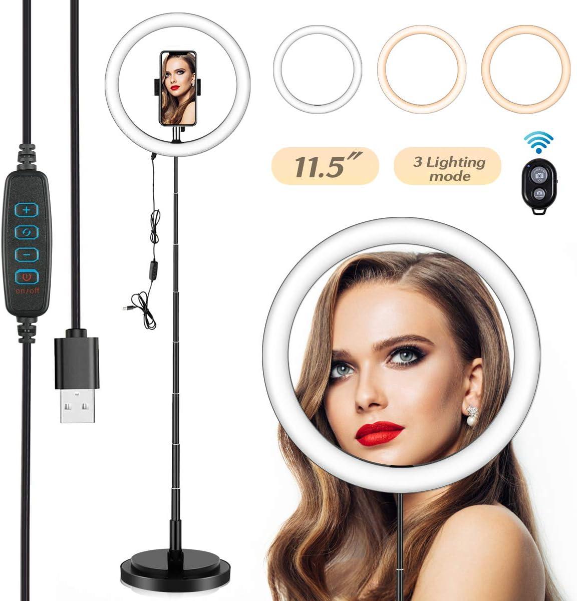 3500K-6000K 5500K Dimmbare Bluetooth-Empf/änger f/ür YouTube Vine Self-Portr/ät der Videoaufnahme 3500K-6000K dimmbare 3 Farbmodi 11.5// 29 cm Selfie Ringleuchte Licht