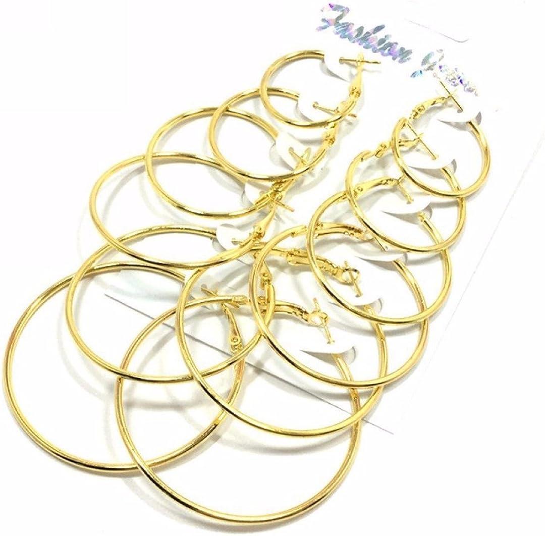 Boucle doreilles Femme Piercing Bague Trous Cercle Cr/éoles Rond Bijoux Corps 6 Pcs