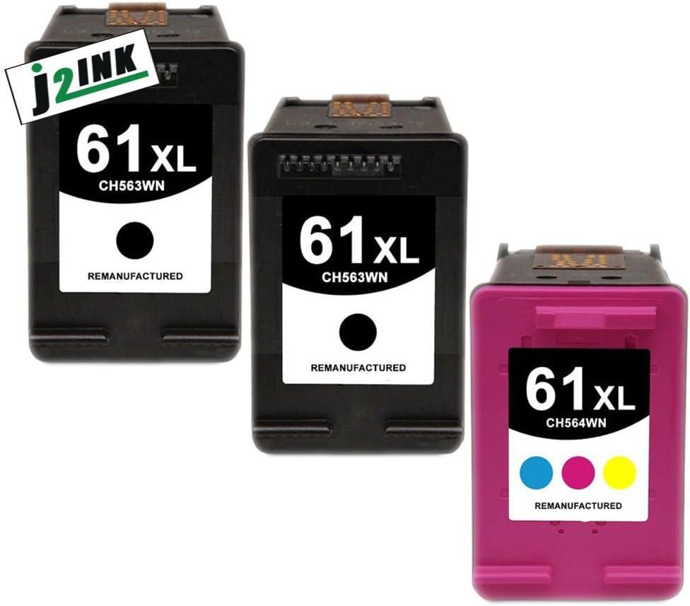 J2INK 3 Pack #61 XL Black &Color Ink Cartridges for Deskjet 1000 1050 1051 2050 Series