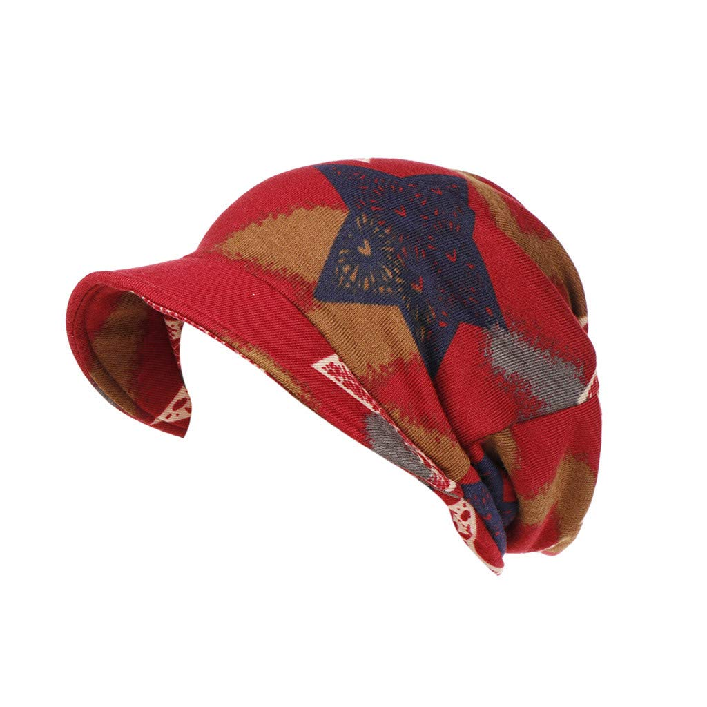 Rcool Gorras de béisbol Viseras Gorro de pescador Pamelas Sombreros Panamá, Estampado floral de algodón Mantener el invierno cálido Turban de ala ancha B: ...