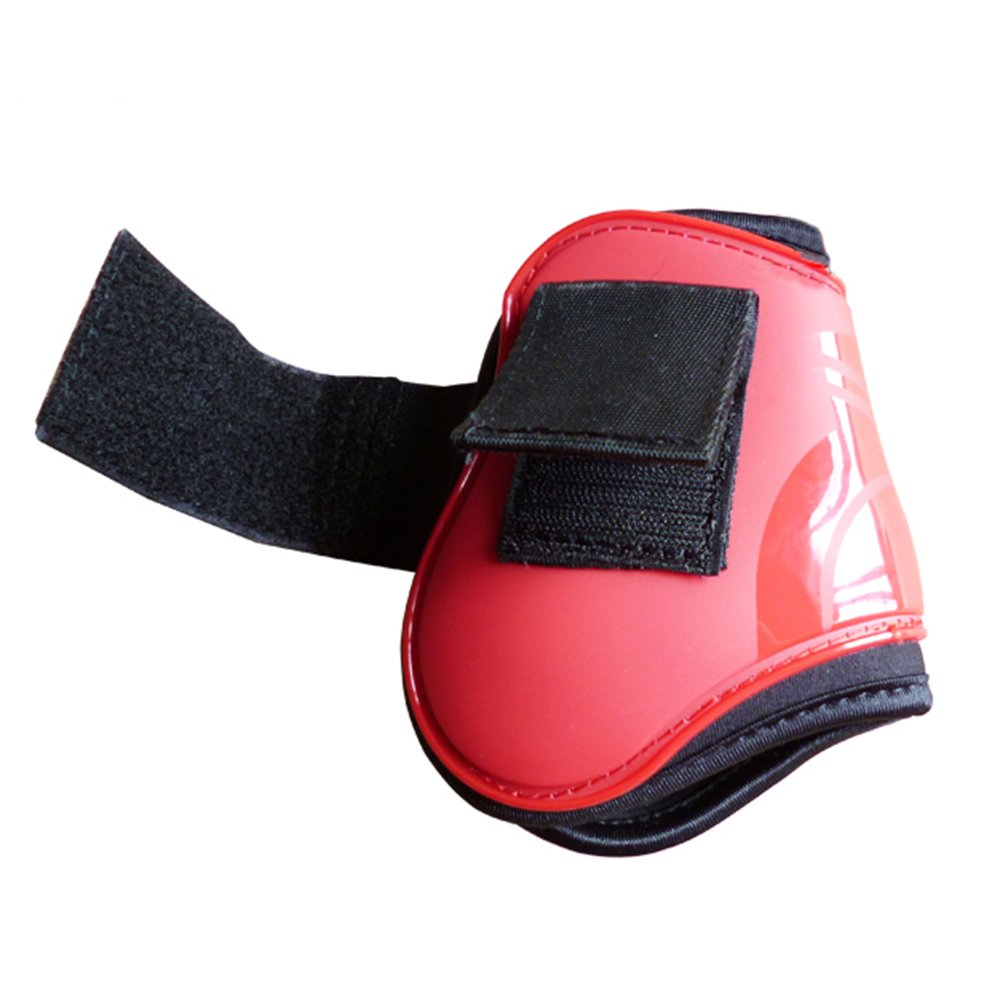 Red Horse Neoprene Tendon Hind Leg Boots Horse Jumping Predection Pair