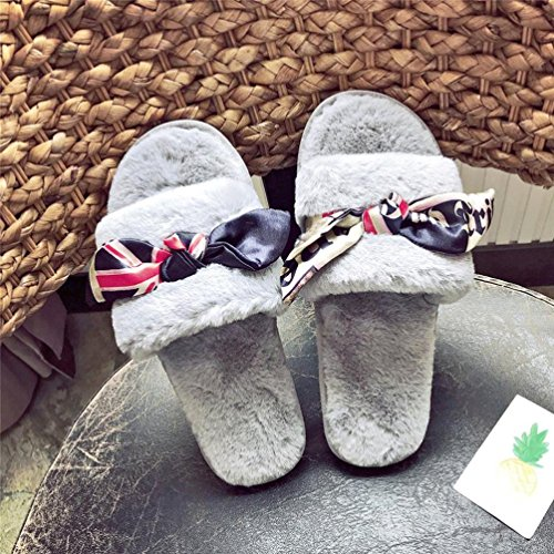 Toe House Slippers Winter Slip Gray Tie Ladies Fur Women Fluffy Bow SUKEQ Shoes Comfy On Slipper Open Warm Faux Indoor tqwPFWOa