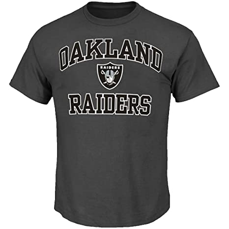 c05bbdd4 Majestic Oakland Raiders NFL Heart & Soul III Charcoal Men's T-Shirt