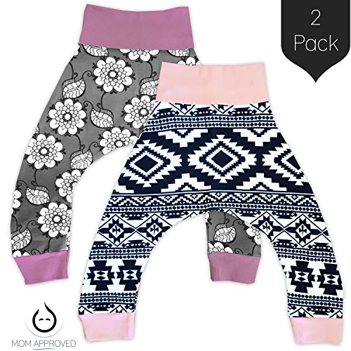 Kaydee Baby Harem Pants (Floral Aztec) - Set of 2 (Ages 0-24 Months) … (6-12 Months)