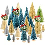 KUUQA 36Pcs Bottle Brush Trees Set, Diorama Trees Mini Sisal Christmas Trees with Christmas Wreaths for Christmas Table Decorations, DIY Room Décor