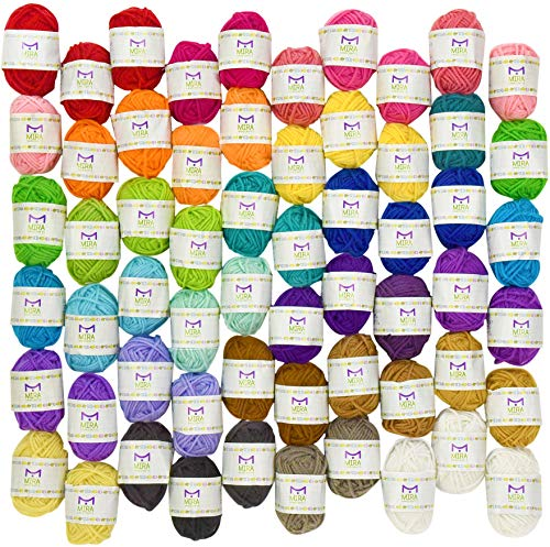 (Mira Handcrafts 60 Yarn Bonbons - Total of 1312 Yard Acrylic Yarn for Knitting and Crochet - Yarn Bag for Storage and Accessories Included with Each Pack)