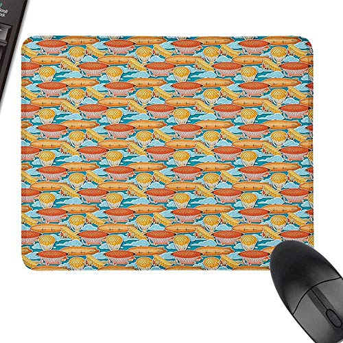 Laptop Mouse Pad Vintage Airplane Zeppelin Hot Air Balloon Blimp and Propeller Plane Pattern in Cloudy Sky for Office, Gaming, Learning,9.8