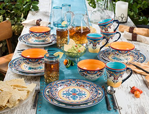 Euro Ceramica Inc Ys Zb 1001 Zanzibar Collection Vibrant Ceramic Earthenware Dinnerware Set 16