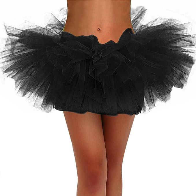Lamibay Tutus for Women Classic Elastic 5 Layered Tulle Tutu Skirt  Petticoat Halloween Costumes for Women