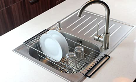 Amazon.com - Over-The-Sink Kitchen Dish Drainer Rack, Durable ...