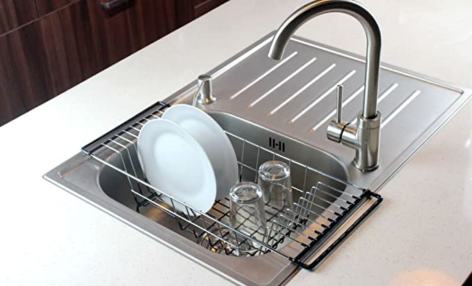 Amazon.com   Over The Sink Kitchen Dish Drainer Rack, Durable Chrome Plated  Steel (Black)