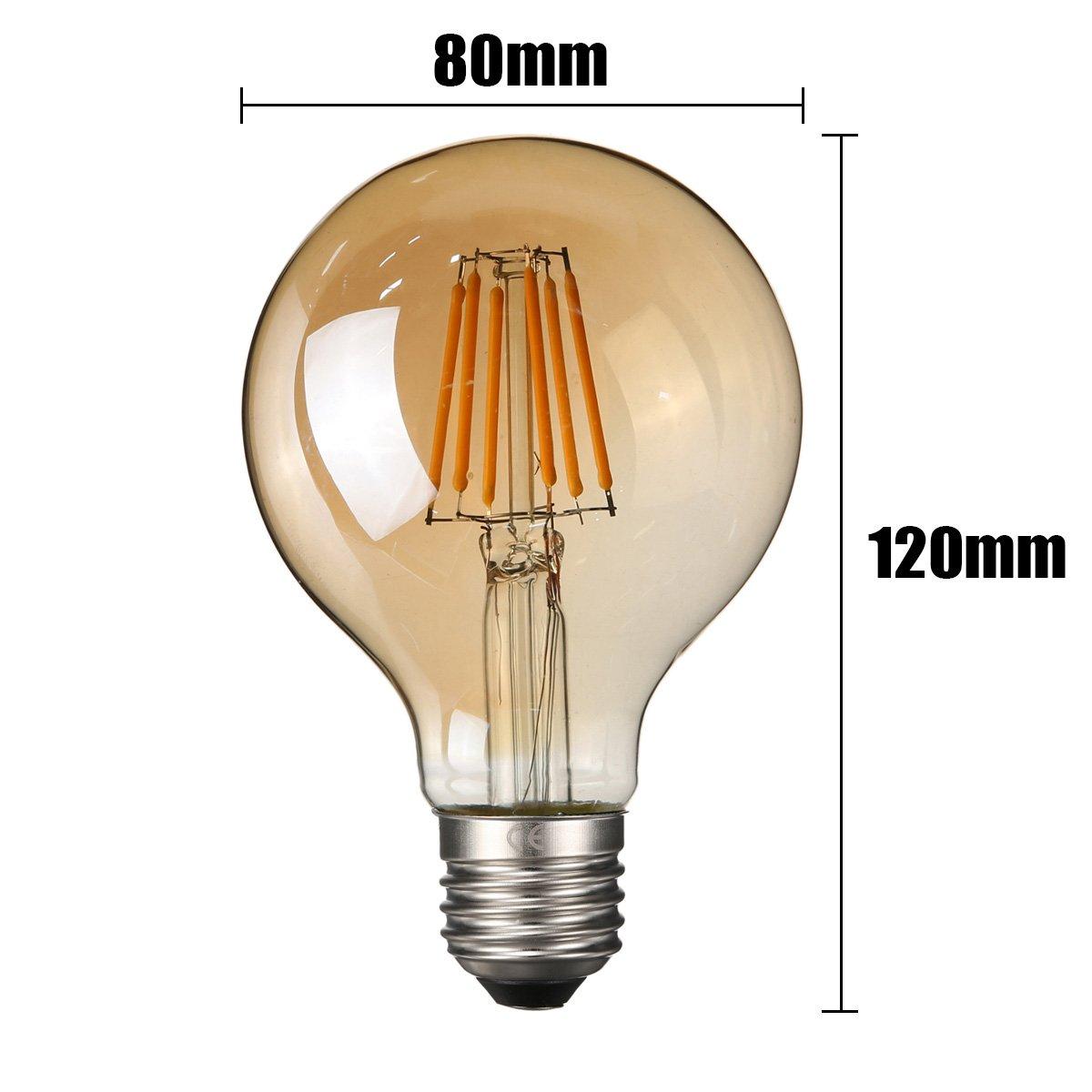 Ampoule Vintage LED Elfeland E27 6W Ampoule Edison Lampe R/étro Antique Dimmable Ampoule D/écorative Amber 600LM 2200K Lumi/ère Blanc Chaud pour Lustres Plafonniers Mod/èle G80-3 Packs