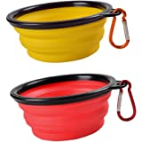 SABUY Collapsible Dog Cat Travel Bowl, Pet Pop-up Food Water Feeder Foldable Bowls with Carabiner Clip