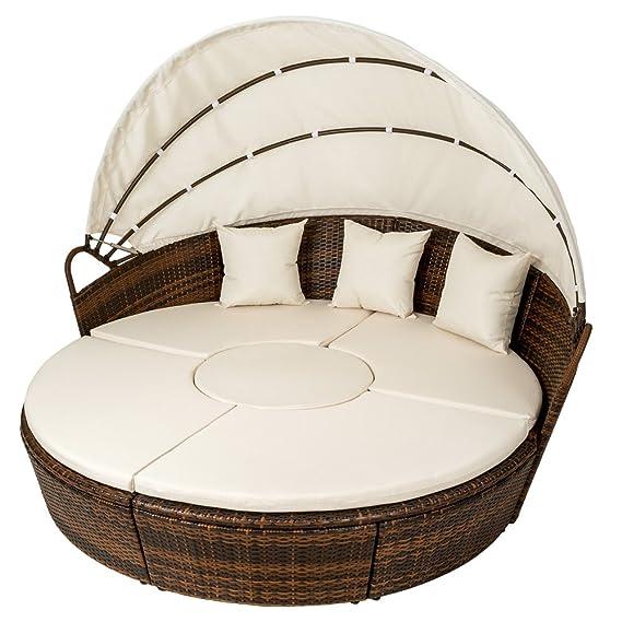 TecTake Conjunto de sillones con un techo isla para tomar el sol de ALUMINIO y ratán sintético - disponible en diferentes colores - (Marrón | No.