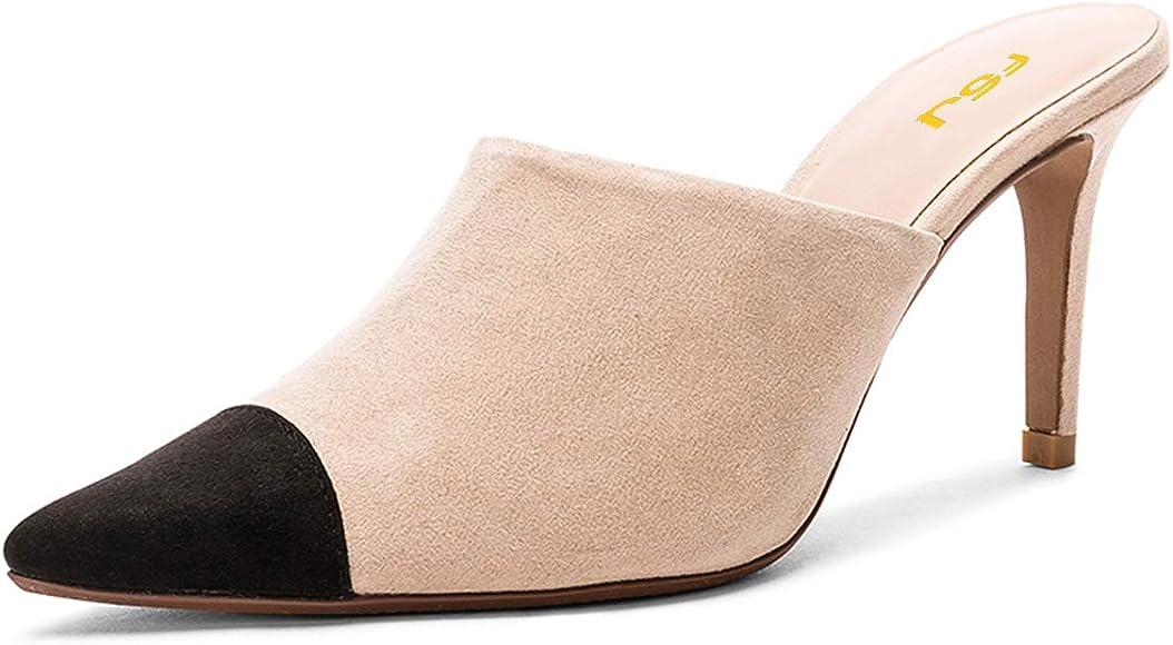 FSJ Women Fashion Two-Tone Pointed Toe