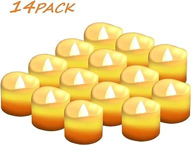 Velas LED Sin Fuego 14 Pack ,Velas LED que parpadean amarillas para hogar festivales decoración, bodas y fiestas: Amazon.es: Iluminación