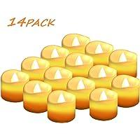 Velas LED Sin Fuego 14 Pack ,Velas LED que parpadean amarillas para hogar festivales decoración, bodas y fiestas