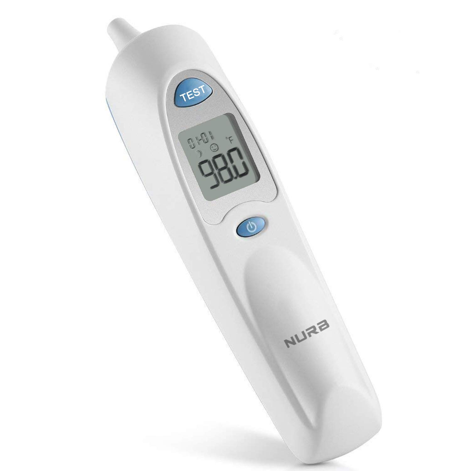 Digital Thermometer, Nurb Infrared Digital Ear Thermometer Suitable for Baby, Infant, Kids, Toddler and Adults with Fever Indicator FDA and CE Approved.(Battery + 20ct Lens Filters Included)