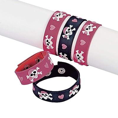 Fun Express Pink Pirate Girl Rubber Bracelets (1 Dozen): Toys & Games