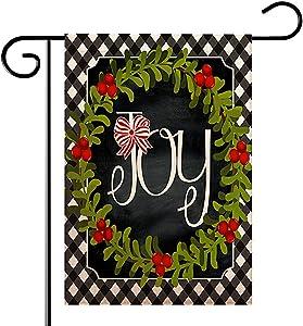 ORIY Merry Christmas Joy Decorative Garden Flag,Xmas Cotton Linen Seasonal Outdoor Flag Sign,Rustic Burlap House Yard Garden Flag Winter Outside Decoration Holiday Home Decor Flag 12x 18