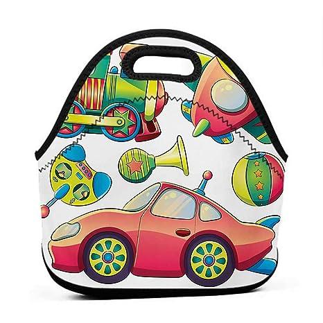 0274eb087069 Amazon.com: Convenient Lunch Box Tote Bag Kids, Funny Transportation ...