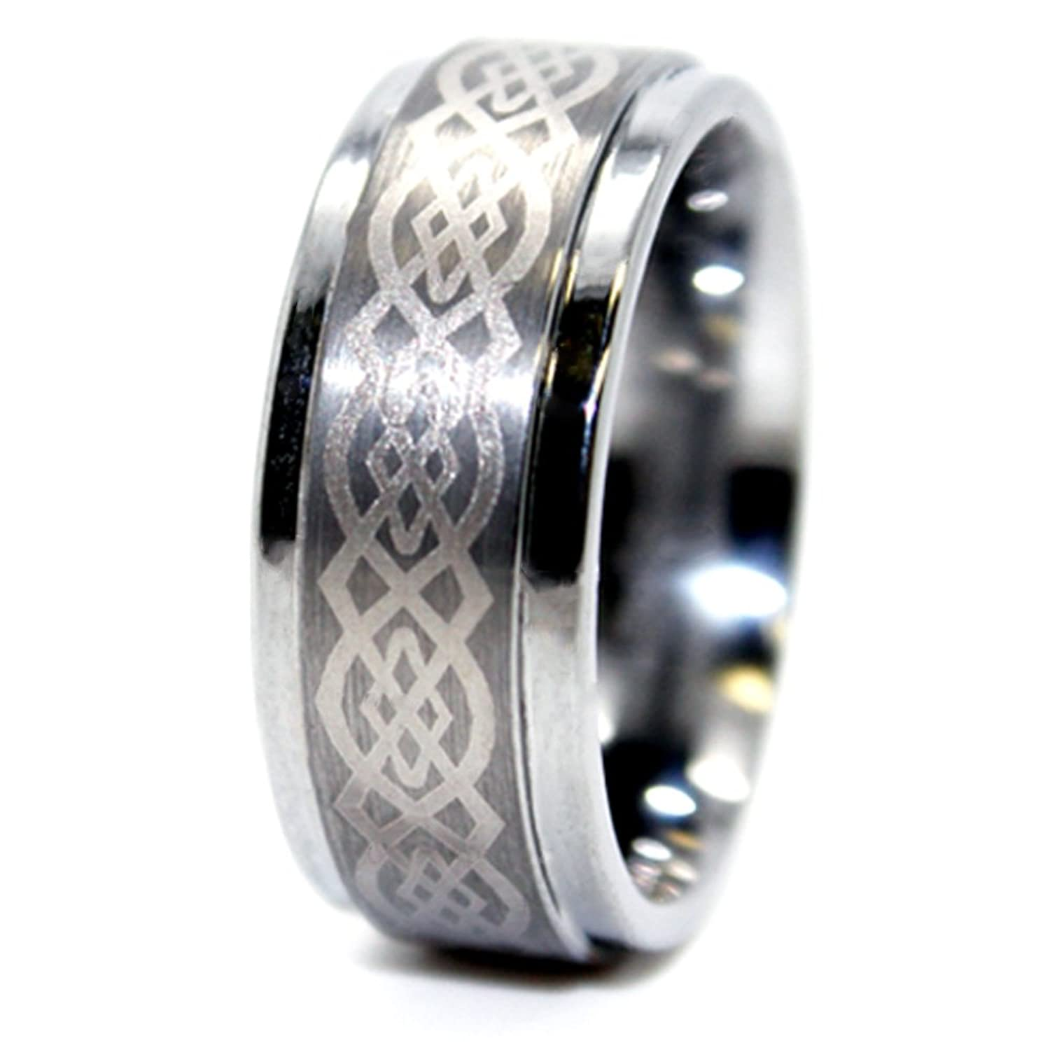 9mm Celtic Knot Tungsten Carbide Wedding Ring Engagement Band US